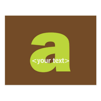 Green and Brown Monogram - Letter A Postcard