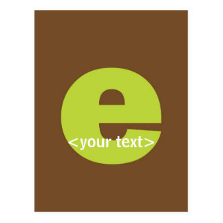 Green and Brown Monogram - Letter E Postcard