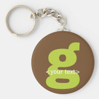 Green and Brown Monogram - Letter G Basic Round Button Key Ring