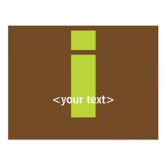 Green and Brown Monogram - Letter I Postcard