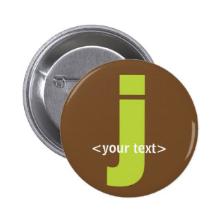 Green and Brown Monogram - Letter J 6 Cm Round Badge