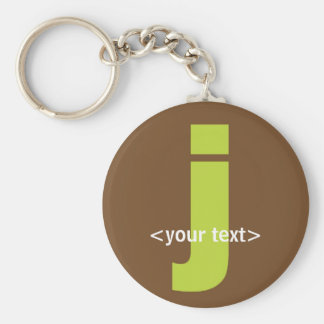 Green and Brown Monogram - Letter J Basic Round Button Key Ring