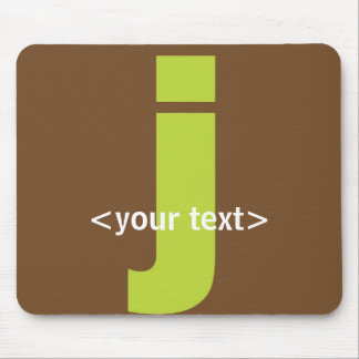 Green and Brown Monogram - Letter J Mouse Pad