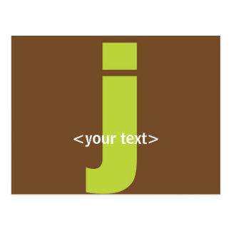 Green and Brown Monogram - Letter J Postcard
