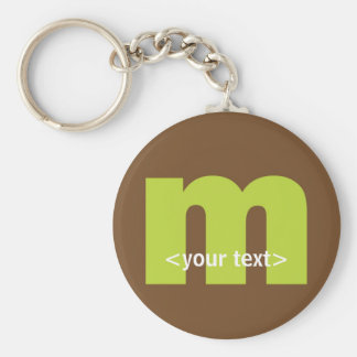 Green and Brown Monogram - Letter M Basic Round Button Key Ring