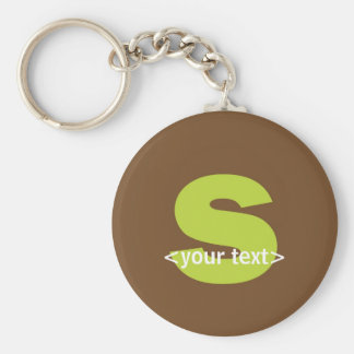 Green and Brown Monogram - Letter S Keychains