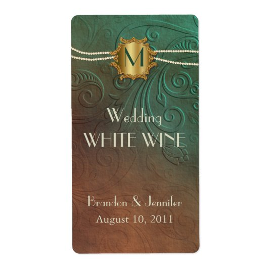 Green and Brown Monogram Wedding Mini Wine Labels