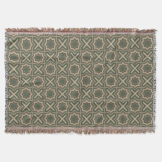 Green and Brown Pattern Throw Blanket