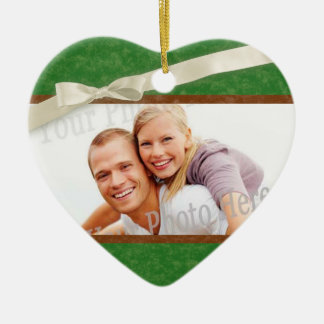 Green and Brown Photo frame with Bow Ceramic Heart Decoration