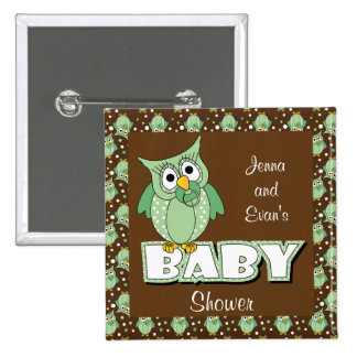 Green and Brown Polka Dot Owl | Baby Shower Theme 15 Cm Square Badge