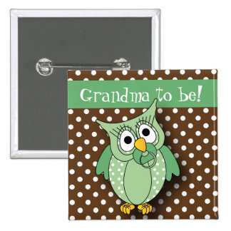 Green and Brown Polka Dot Owl Baby Shower Theme 15 Cm Square Badge