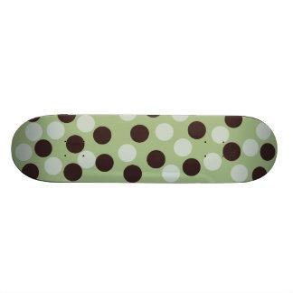 Green and Brown Polka Dot Skateboard