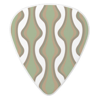 Green and brown vertical waves white delrin guitar pick