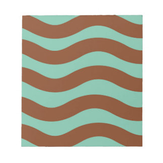 Green and Brown Wavy Stripes Notepad