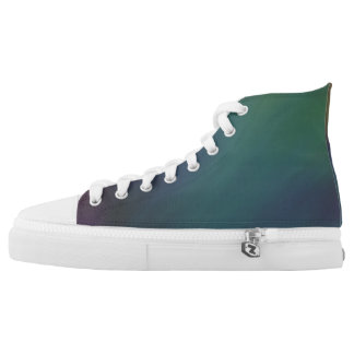 Green and Burgundy Hi tops Printed Shoes