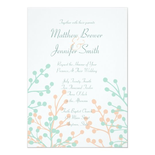 Green and Coral Floral Custom Wedding Invitation