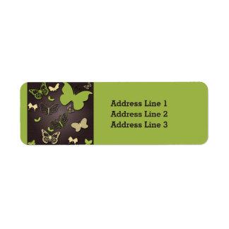Green and Cream Butterflies on Green Address Label