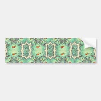 Green And Cream Flower Abstract Pattern Bumper Sticker