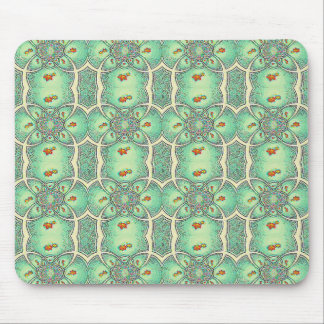 Green And Cream Flower Abstract Pattern Mouse Pad
