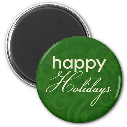 Green and Cream Happy Holidays Magnet