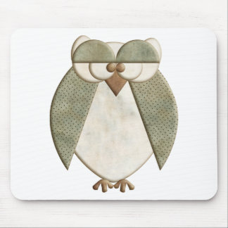 Green and Cream Owl Mousepad