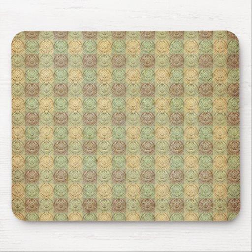 Green And Cream Retro Embossed Design Mousepad