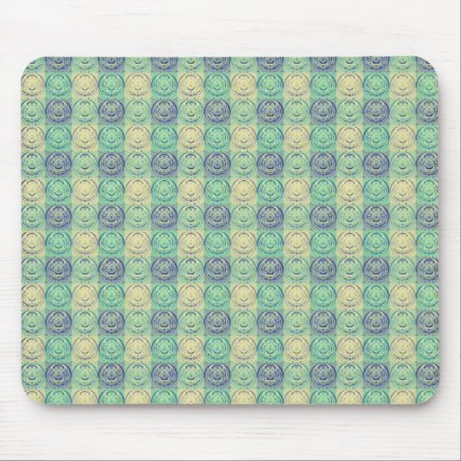 Green And Cream Vintage Embossed Pattern Mousepads