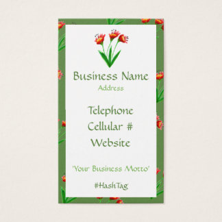 Green And Feminine Pretty Floral Business Card