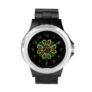 Green and Gold Celtic Knot Wristwatch