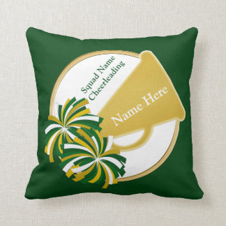 Green and Gold Cheer Gifts for Cheerleaders, Coach Cushion