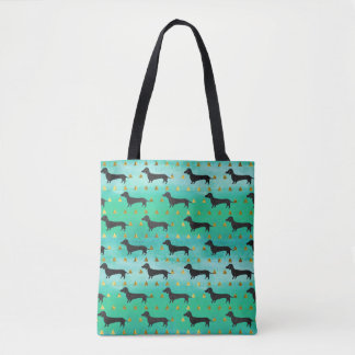 Green and Gold Dachshund Pattern Tote Bag
