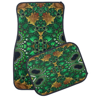Green and Gold Decorative Set of 4  Car Mats