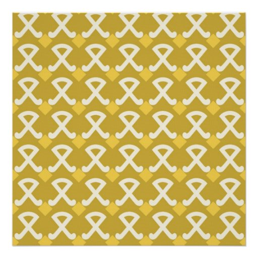 Green and Gold Diamonds and Hooks Patterns Print