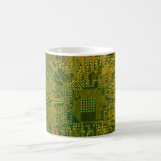 Green and Gold Electronic Computer Circuit Board Basic White Mug