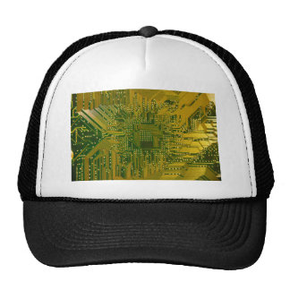 Green and Gold Electronic Computer Circuit Board Cap