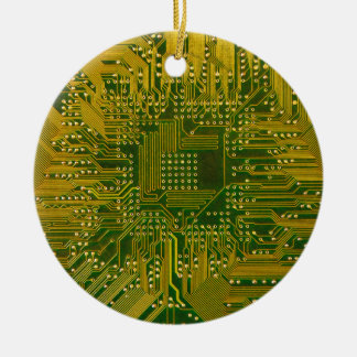 Green and Gold Electronic Computer Circuit Board Round Ceramic Decoration
