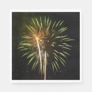 Green and Gold Fireworks Holiday Celebration Disposable Serviette