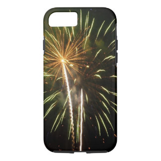 Green and Gold Fireworks Holiday Celebration iPhone 7 Case