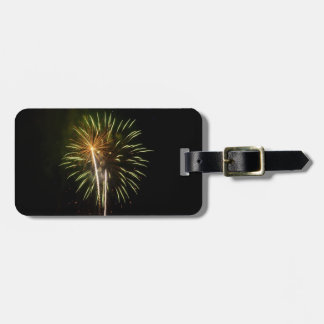 Green and Gold Fireworks Holiday Celebration Luggage Tag