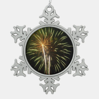 Green and Gold Fireworks Holiday Celebration Pewter Snowflake Decoration