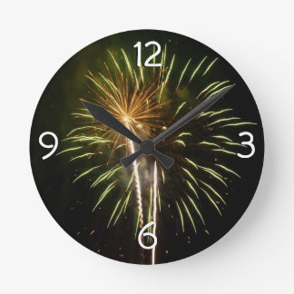 Green and Gold Fireworks Holiday Celebration Wall Clocks