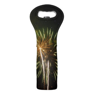 Green and Gold Fireworks Holiday Celebration Wine Bag
