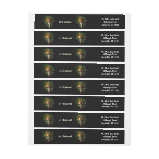 Green and Gold Fireworks Holiday Celebration Wrap Around Label