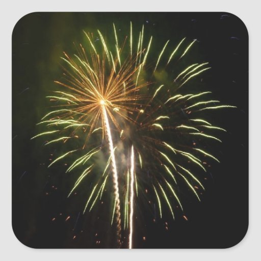Green and Gold Fireworks Sticker