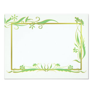 Green and gold floral ornament 11 cm x 14 cm invitation card
