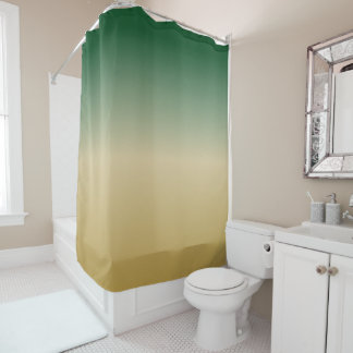 Green and Gold Gradient Shower Curtain