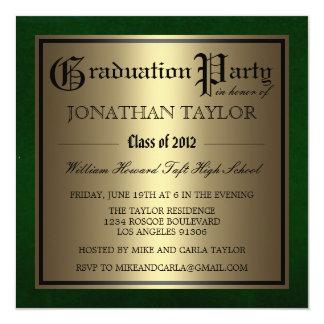 Green and Gold Graduation 13 Cm X 13 Cm Square Invitation Card