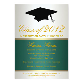 Green and Gold Graduation Invitation