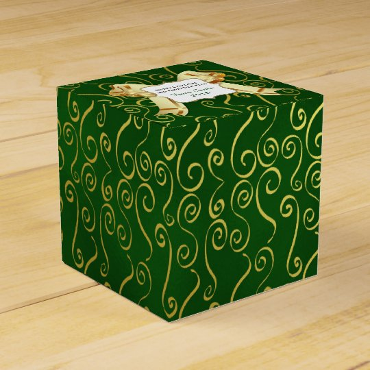 Green and Gold Holiday Favour Gift Box