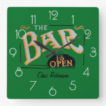 Green and Gold Home Personalised Bar Clock